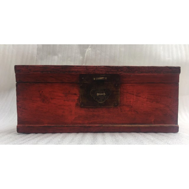 Antique Chinese Red Lacquer Box For Sale - Image 5 of 11