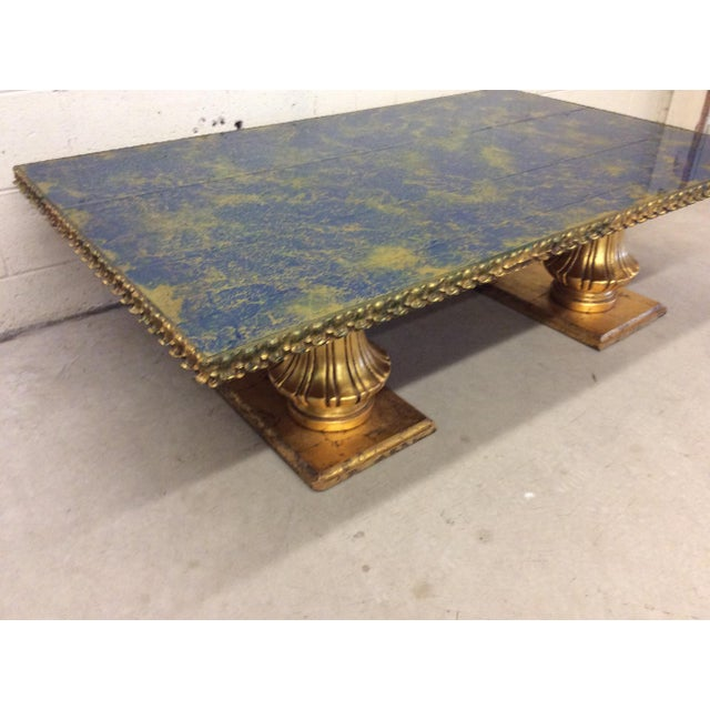 Monumental Italian Gold Gilt Carved Wood & Painted Glass Top Coffee Table For Sale - Image 4 of 11