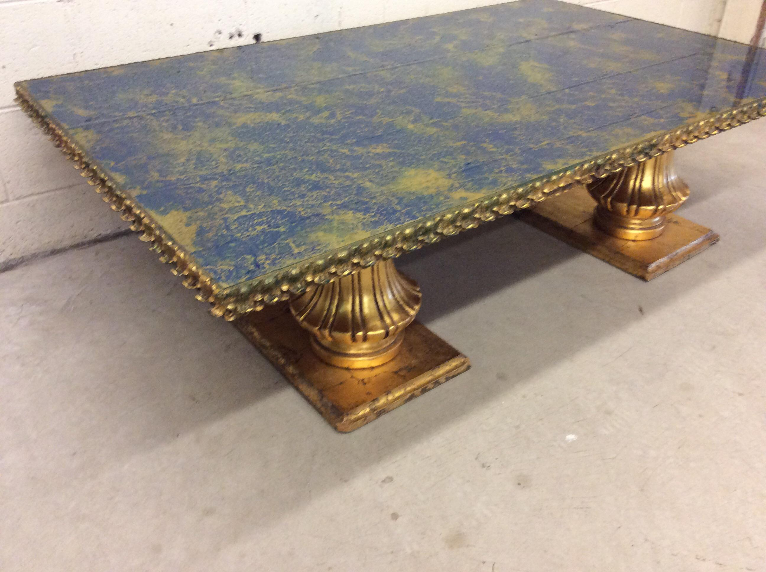 Monumental Italian Gold Gilt Carved Wood U0026 Painted Glass Top Coffee Table    Image 4 Of