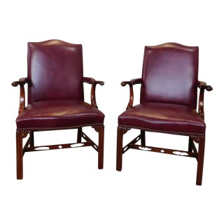 1990s Vintage Statesville Chair Co Mahogany & Leather Chippendale Armchairs - a Pair