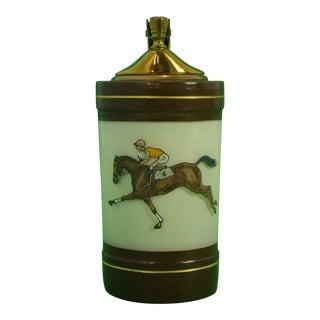 1950s Vintage H Kauffman & Sons Jockey & Racehorse Porcelain Cigarette Lighter