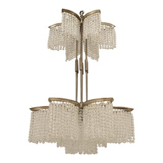 French Art Deco Nickel Plated Double Tier 6 Sided Star Shaped Chandelier