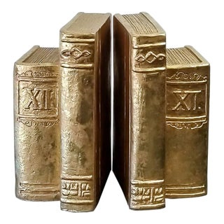 Gold-Leaf Books Bookends - A Pair For Sale