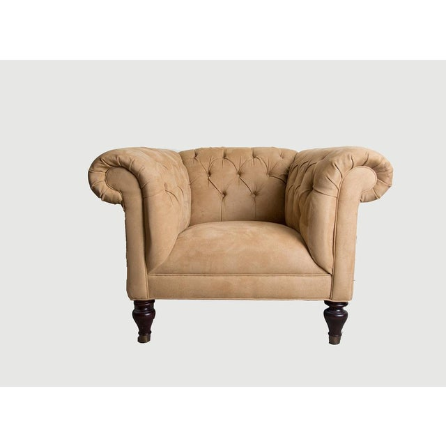 Restoration Hardware Tufted Suede Chair - Image 2 of 3