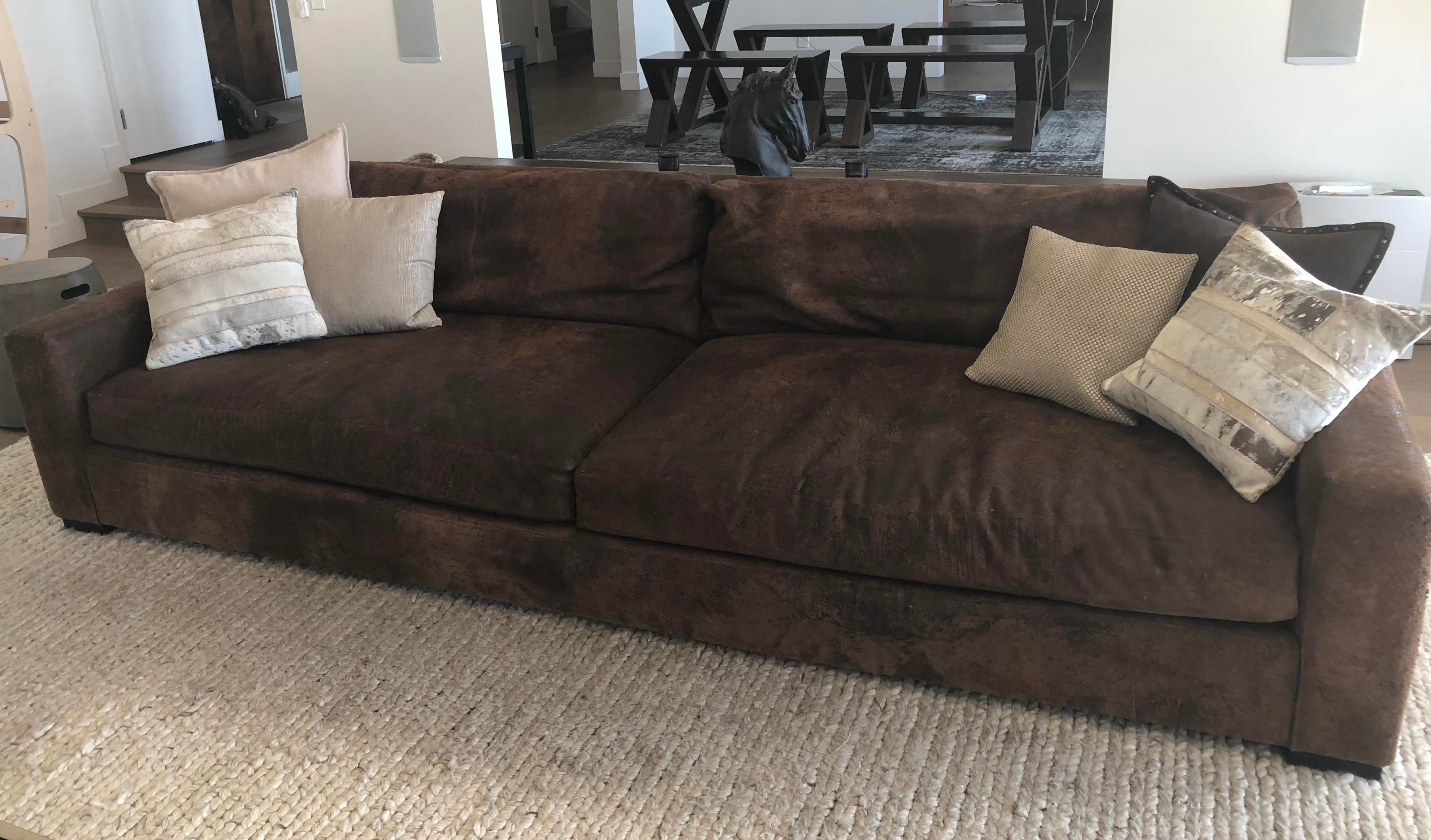 This Gorgeously Rugged Maxwell Sofa From Restoration Hardware Is  Upholstered In Espresso Colored Destroyed Leather