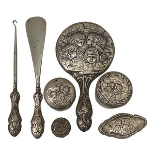 19th Century Sterling Silver Vanity Set W/ Hallmarks - 7 Piece Set For Sale
