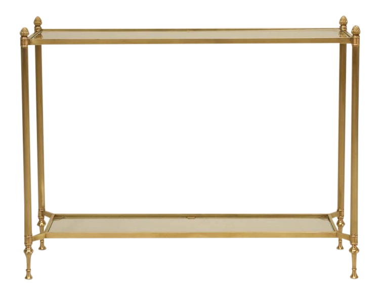 brass console table. Mid-Century Modern Brass Console Table For Sale