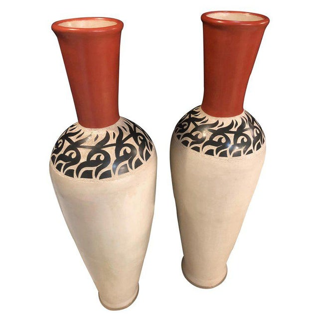 Black Monumental Decorative Moroccan Pottery Vases - A Pair For Sale - Image 8 of 8