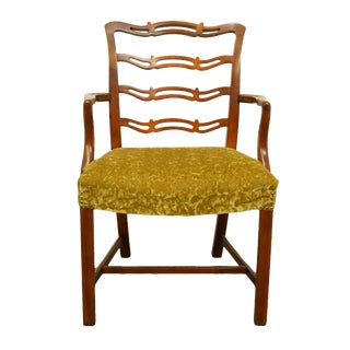 Late 20th Century Drexel Heritage Duncan Phyfe Solid Cherry Ladder Back Dining Arm Chair For Sale