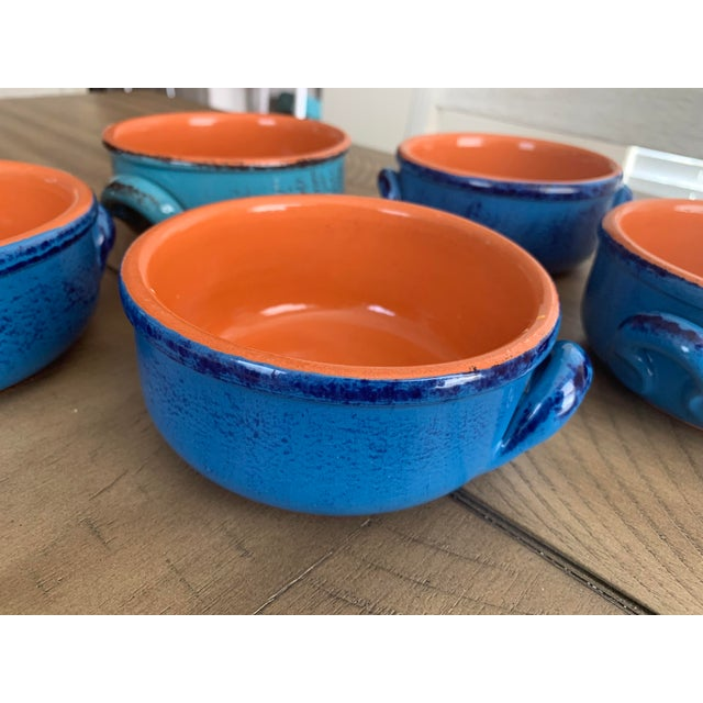 Vintage DeSilva Rustic Painted & Glazed Terra Cotta Soup Bowls With Handles- Set of 5 For Sale - Image 4 of 12