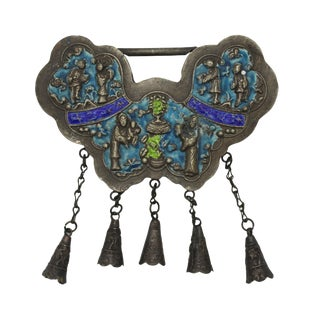 Butterfly Shape Chinese Ancient Metal Lucky Ping an Lock - Protective Talisman Pendant For Sale