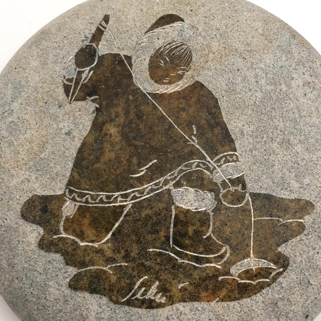 Late 20th Century Late 20th Century Inuit Etched Soapstone Lidded Box For Sale - Image 5 of 8