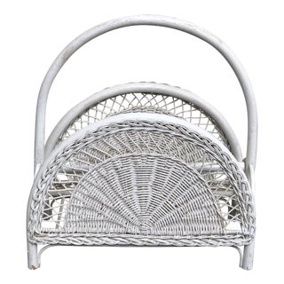 White Wicker Magazine Holder