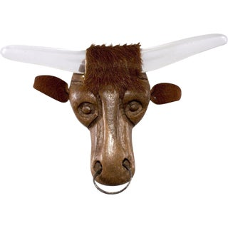 "Elzac 4.75"" Large Lucite Wood Steer Brooch Pin Western Texas Longhorn 1940s Vintage For Sale"