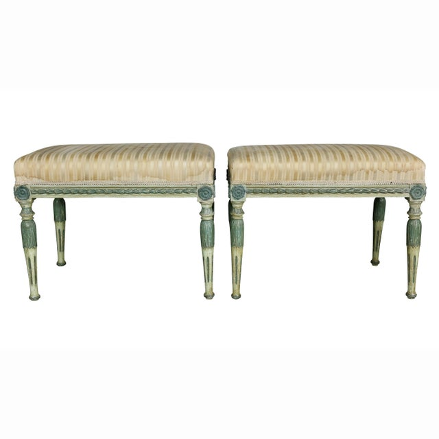 Swedish Neoclassic Painted Benches - a Pair For Sale - Image 10 of 11