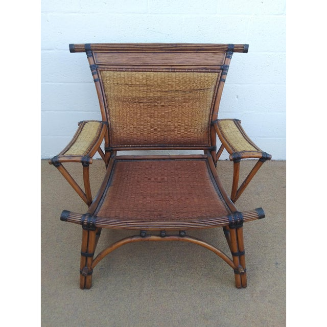 English Asian Style Mandalay Rattan Club Chairs by Marge Carson With Rawhide Accent Bindings and Metal Accent Caps - a Pair For Sale - Image 3 of 12
