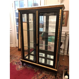 Antique Beveled Glass Marble Top Curio Display Cabinet Preview