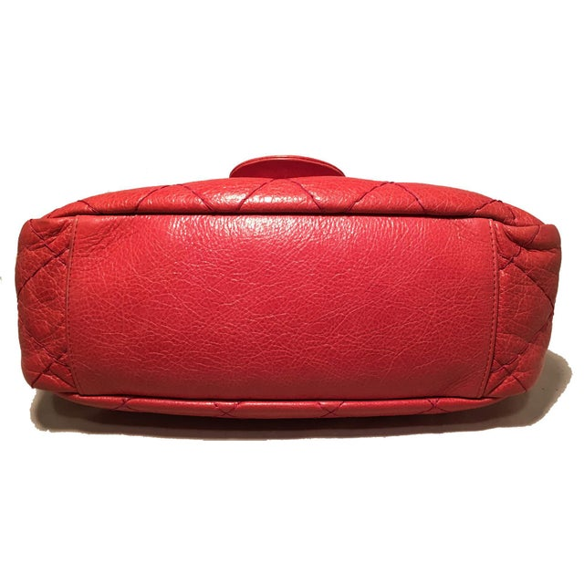 dc23613f6921 Chanel Chanel Red Quilted Glazed Leather Classic Flap Shoulder Bag For Sale  - Image 4 of