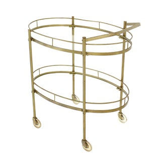 Oval Brass amd Glass Tea Cart on Wheels For Sale