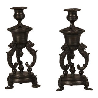 Antique Italian Bronze Candlesticks Circa 1885 - a Pair For Sale