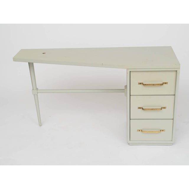 White Tommi Parzinger Style Celadon Lacquered Desk For Sale - Image 8 of 9