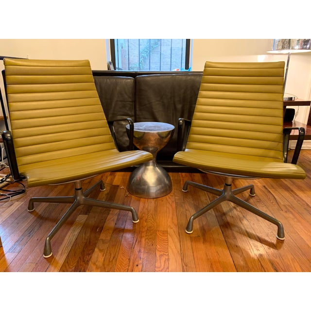 Green 1950s Vintage Eames Olive Green Swivel Lounge Chairs- A Pair For Sale - Image 8 of 8