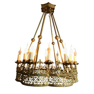 Antique Bagues Bronze French Chandelier For Sale