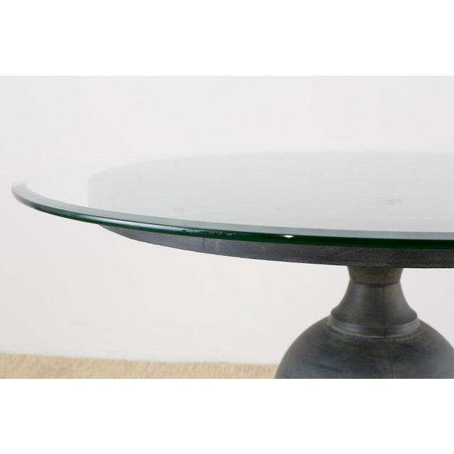 Neoclassical Neoclassical Patinated Metal Pedestal Dining or Centre Table For Sale - Image 3 of 13