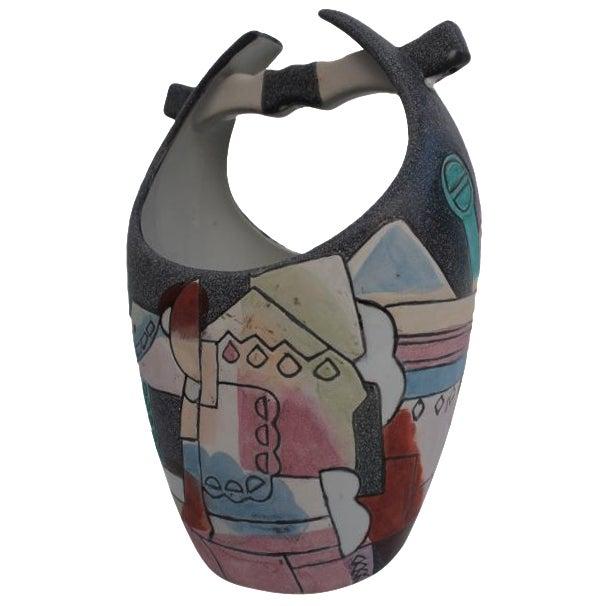 Kiln Art Cubist Handmade Vase - Image 1 of 8