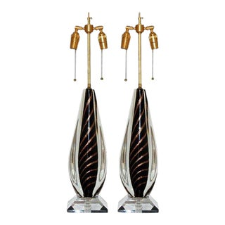 Flavio Poli Murano Lamps Black & Gold For Sale