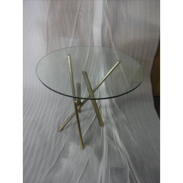 Round Glass Top & Gold Stained Aluminum Side Table - Image 2 of 4