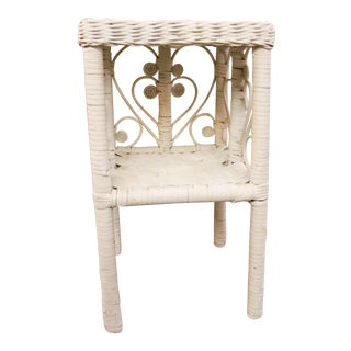 Vintage White Wicker Side Table