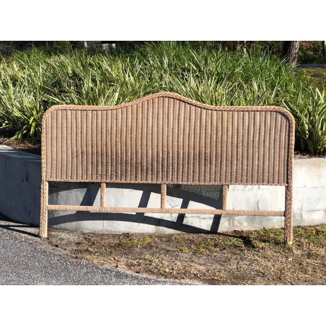 Wood Vintage Rattan King Headboard For Sale - Image 7 of 9