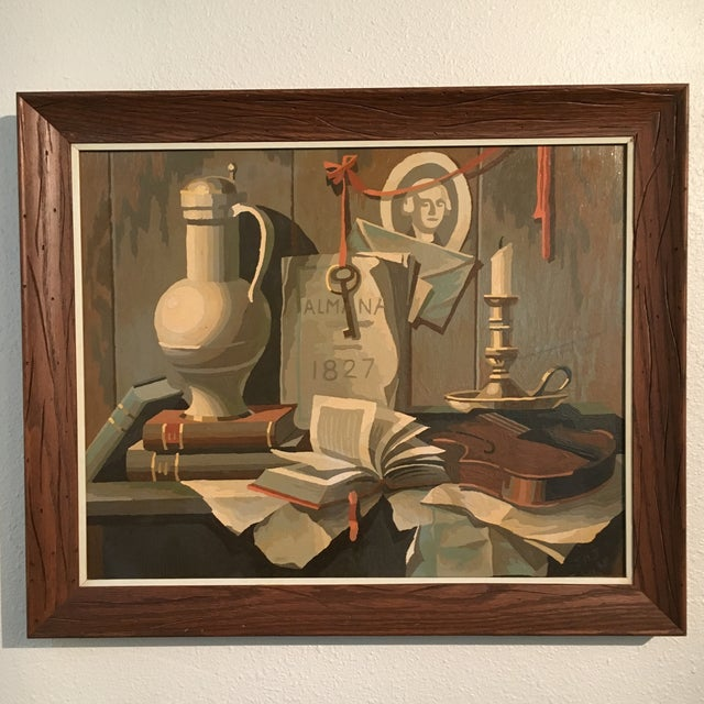1968 Still Life Paint by Number Framed Painting - Image 2 of 6