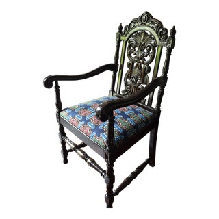 19th Century Traditional Carved Wood Armchair For Sale