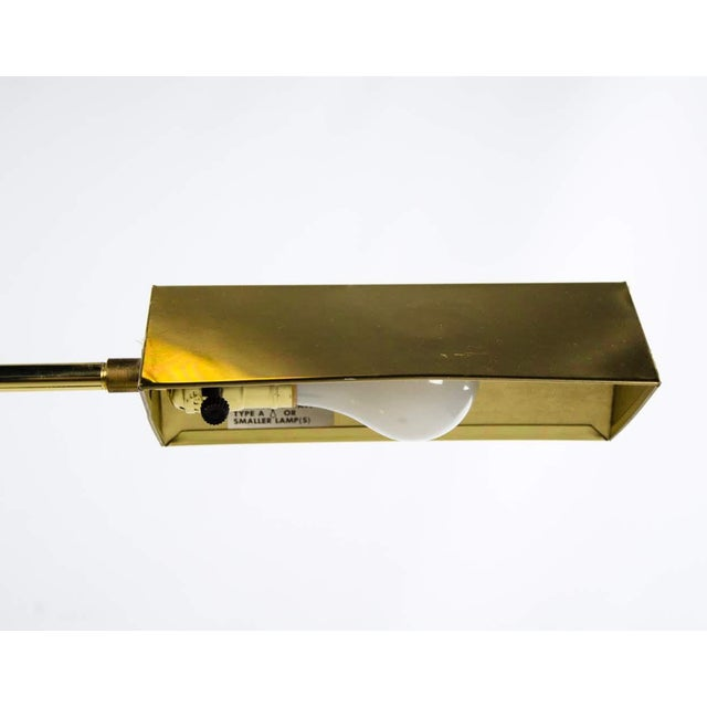 Gold Mid Century Modern Style Brass Adjustable Reading Floor Lamp For Sale - Image 8 of 13