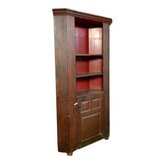 Primitive Antique Pine Corner Cabinet For Sale