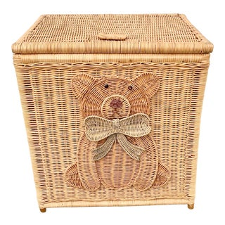 Vintage Wicker Teddy Bear Basket For Sale