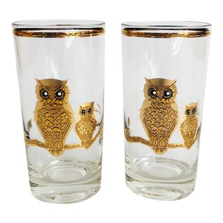 Mid Century Tall Gold Owl Tumblers by Culver - Set of 2 For Sale