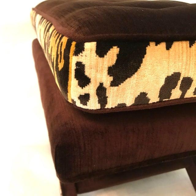 Leopard & Brown Velvet Upholstered X Bench For Sale In Los Angeles - Image 6 of 9