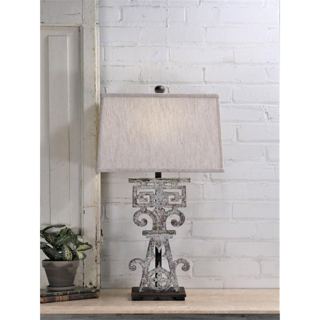 Table Lamp Made From 20th Century British Colonial Iron With Shade For Sale - Image 4 of 5
