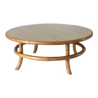 Vintage Mid Century Rattan Bamboo Bentwood Coffee Table For Sale