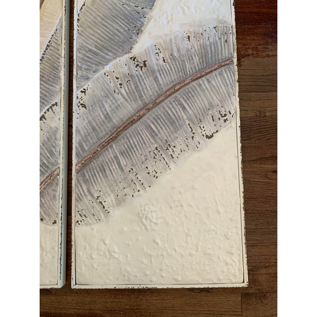 Pressed Tin Triptych of Painted Banana Leaves by Kalalou - 3 Pieces For Sale - Image 9 of 13