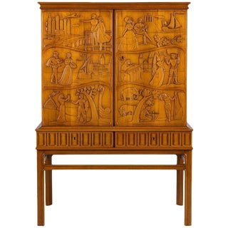 Eugen Hoglund Carved Cabinet For Sale