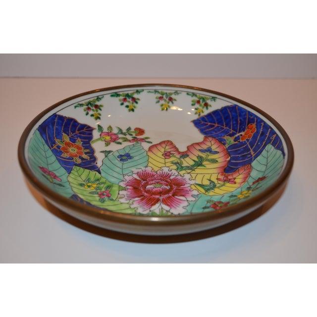 1980s Vintage Tobacco Leaf Porcelain and Brass Bowl For Sale - Image 4 of 13