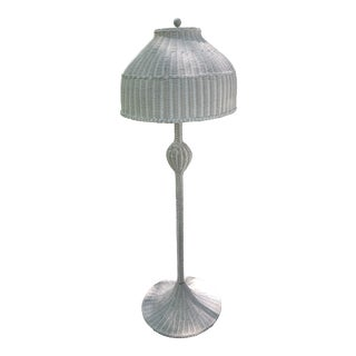 Antique Boho Design Wicker Mushroom Floor Lamp For Sale