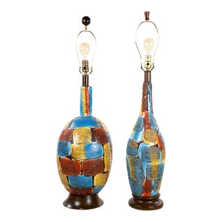 Mid-Century Modern Italian Volcanic Glazed Pottery Ceramic Table Lamps - Set of 2 For Sale