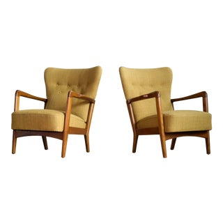 Fritz Hansen Danish Pair of Low Back Lounge Chairs With Open Armrests, 1940s For Sale