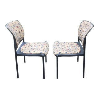 Late 20th Century Vintage Giancarlo Piretti Upholstered Rapture Stacking Chairs- A Pair For Sale