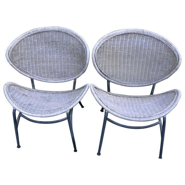 Salterini Wicker Clamshell Chairs, Pair, With Steel Frame for Home, Patio, Porch For Sale - Image 13 of 13